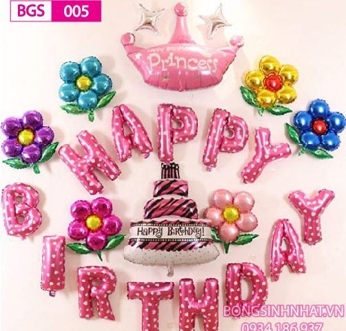 Set bóng trang trí tiệc sinh nhật cho bé gái chủ đề vương miện