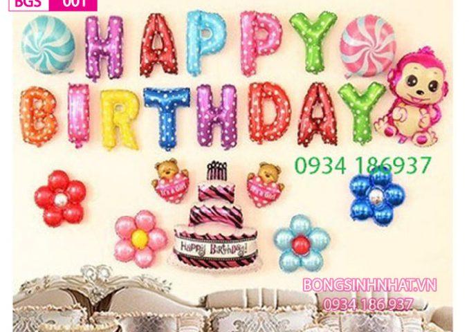 Bóng trang trí sinh nhật bé gái BGS001