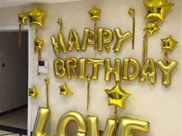 Set bóng trang trí sinh nhật cho bạn trai màu vàng