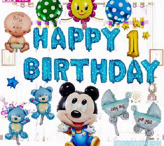 bóng trang trí sinh nhật, bóng sinh nhật cho bé trai chủ đề chuột mickey màu xanh dương
