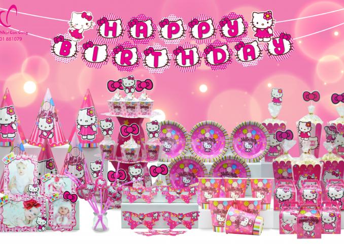 phụ kiện trang trí sinh nhật bé gái chủ đề Kitty