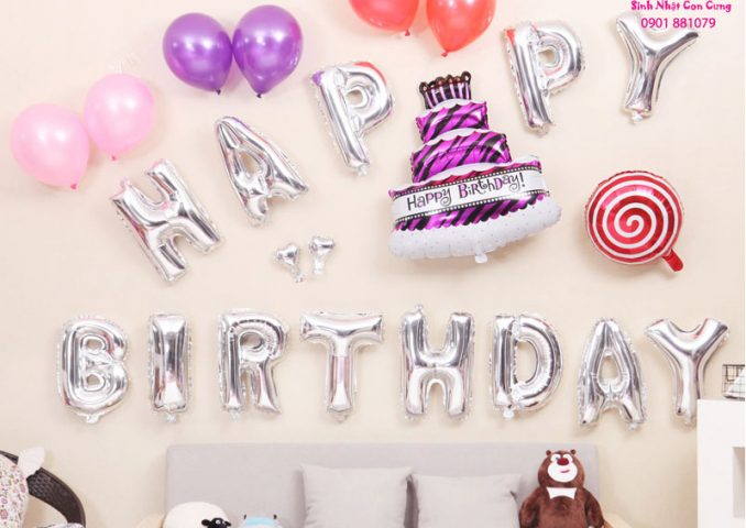 bóng trang trí sinh nhật bạn gái dễ thương, bóng trang trí sinh nhật bạn gái đẹp