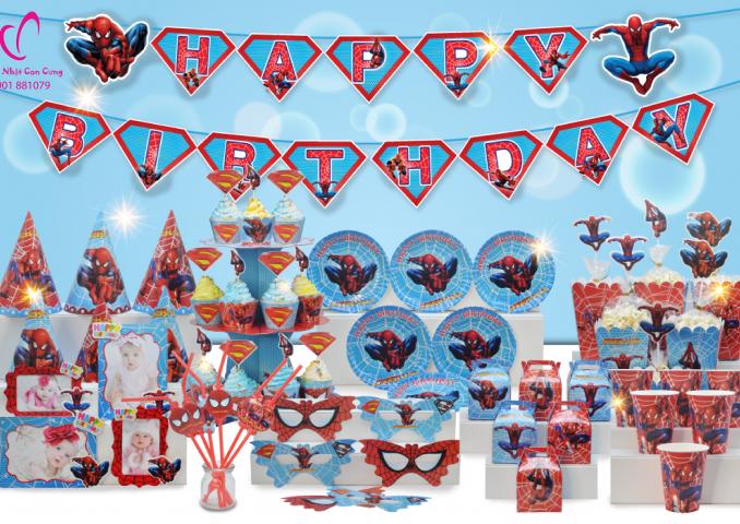Phụ kiện trang trí sinh nhật bé trai chủ đề Spiderman-người nhện