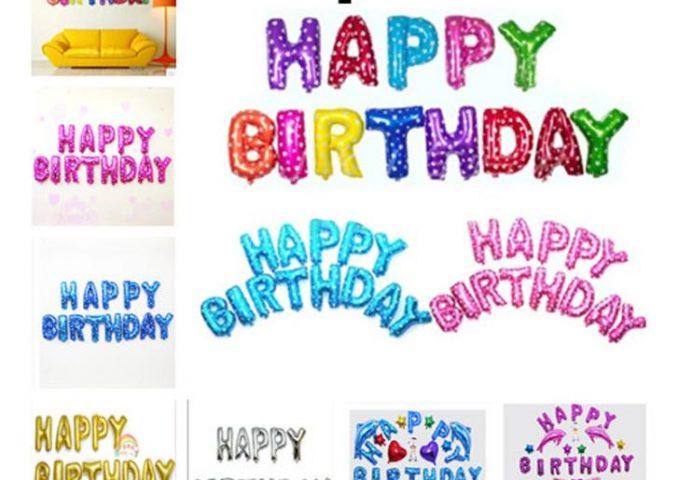 bóng chữ happy birthday, bóng trang trí sinh nhật