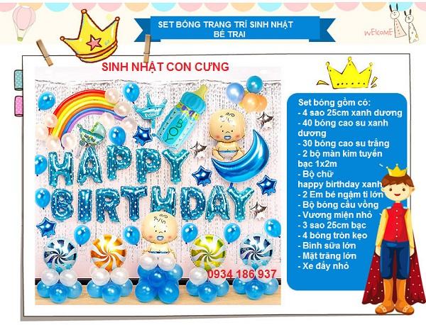 Set bóng trang trí sinh nhật cho bé trai màu xanh dương tươi mát