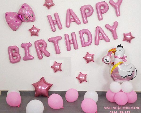 Bóng bay sinh nhật bé gái dễ thương