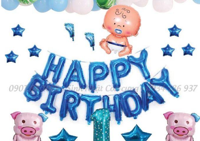 Set bóng trang trí sinh nhật cho bé trai tuổi heo