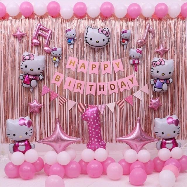 Set bóng sinh nhật bé gái kitty